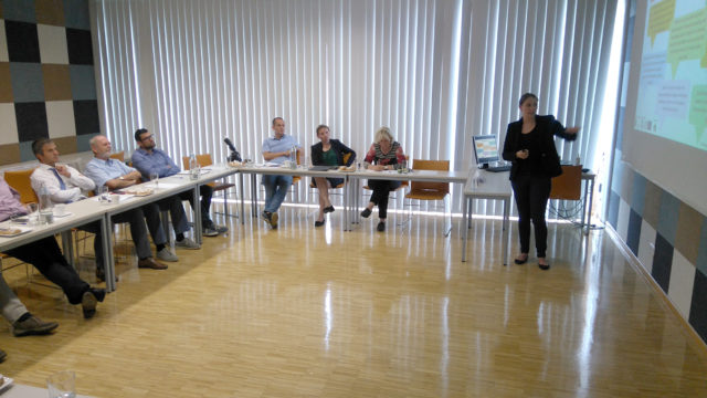B.A. Mariella Pfannenstill präsentiert die Motivstudie im FH Campus Wieselburg. Foto: Eisenstraße Niederösterreich